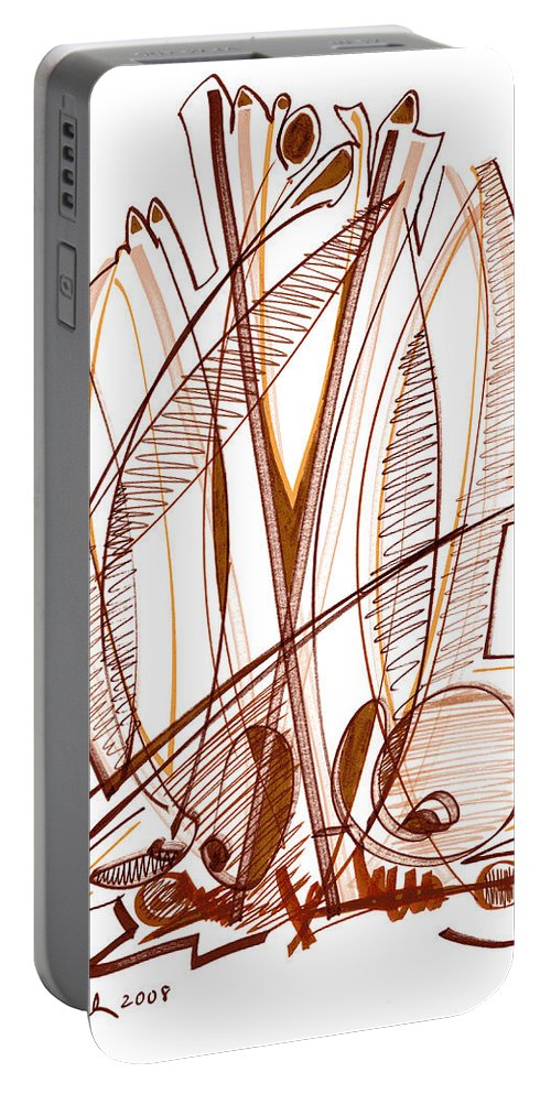 Abstract Portable Battery Charger featuring the drawing Abstract Pen Drawing Sixty-four by Lynne Taetzsch