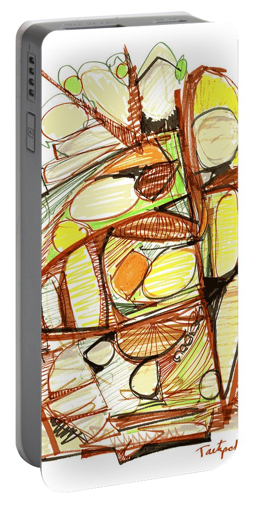 Abstract Portable Battery Charger featuring the drawing Abstract Pen Drawing Sixty-three by Lynne Taetzsch