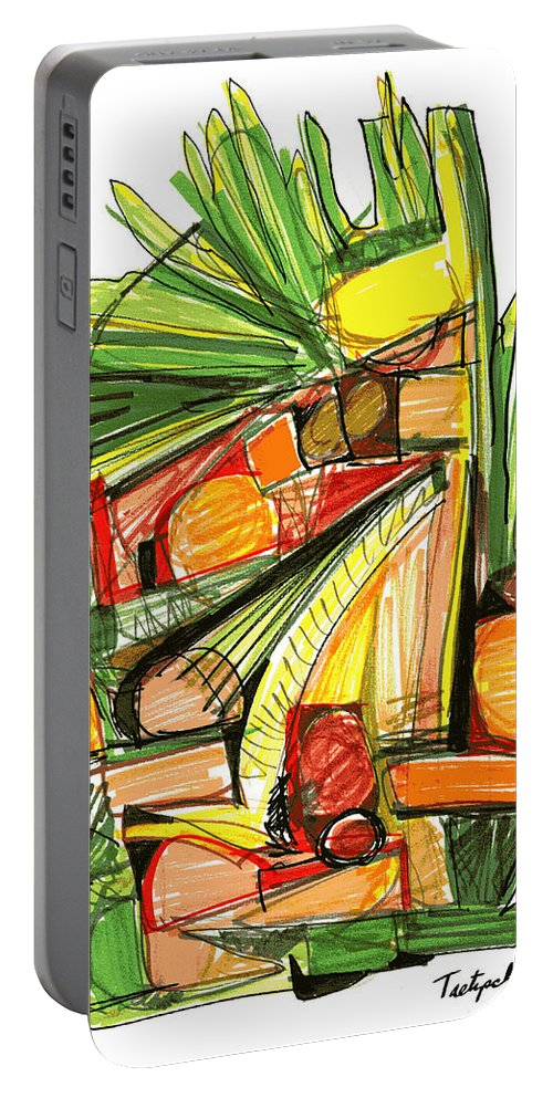 Abstract Portable Battery Charger featuring the drawing Abstract Pen Drawing Sixty-two by Lynne Taetzsch