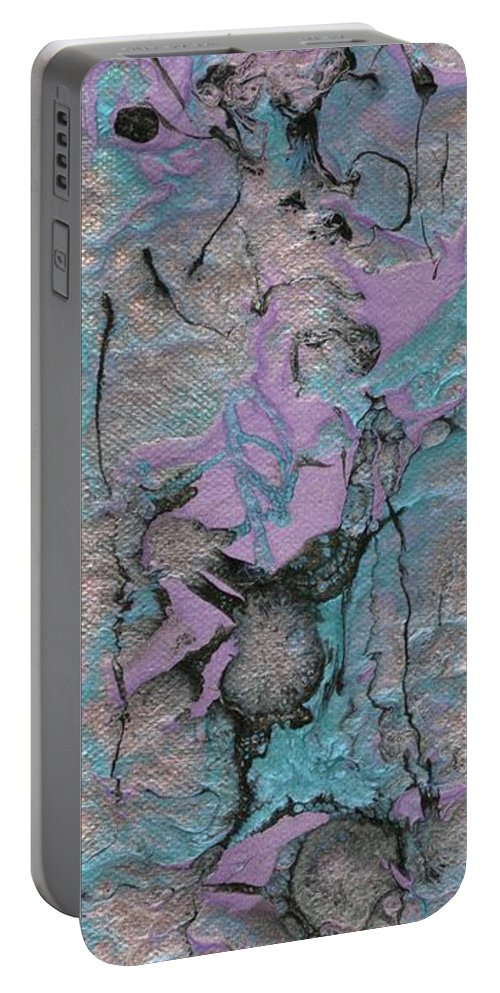 Abstract Portable Battery Charger featuring the painting Abstract Pour 3 by Jamie Frier