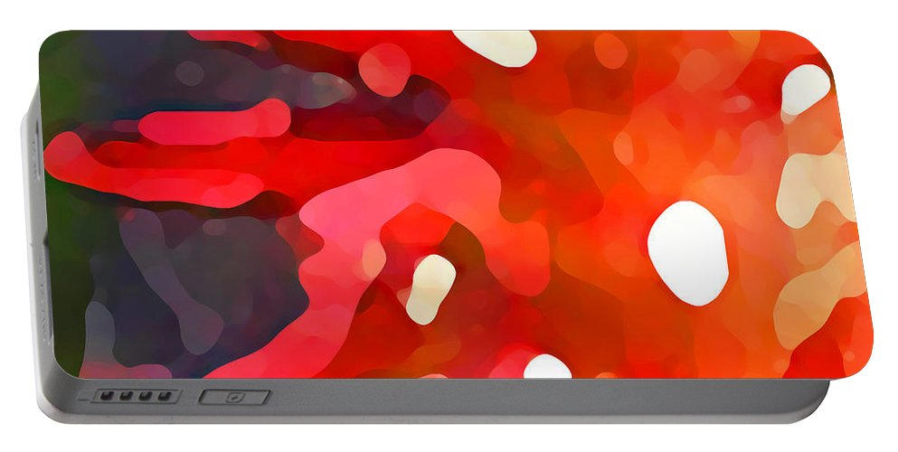Bold Portable Battery Charger featuring the painting Abstract Red Sun by Amy Vangsgard