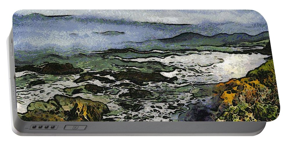Bay View Portable Battery Charger featuring the digital art Abstract Seascape Morro Bay California by Barbara Snyder