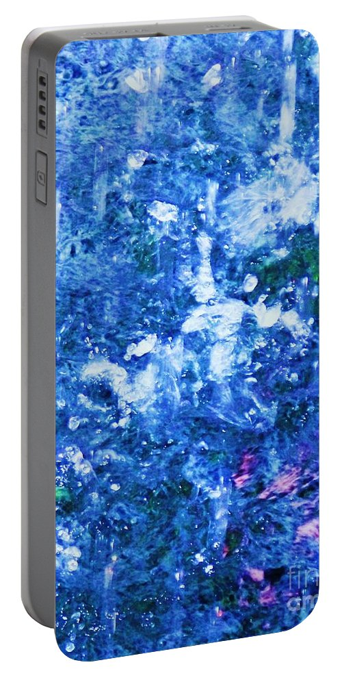 Abstract Portable Battery Charger featuring the photograph Abstract Splashing Water by Eric Schiabor