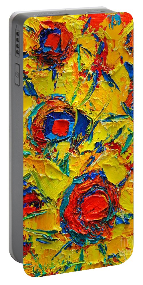 Sunflowers Portable Battery Charger featuring the painting Abstract Sunflowers by Ana Maria Edulescu