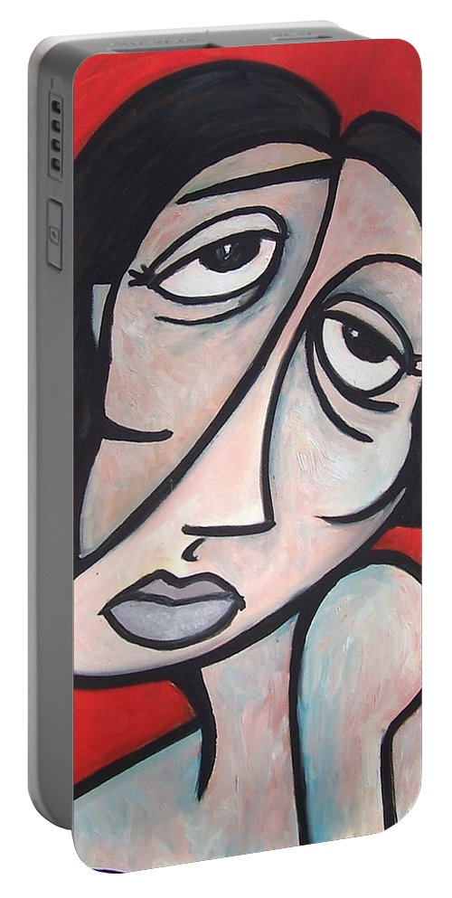 Portrait Portable Battery Charger featuring the painting Abstract by Thomas Valentine