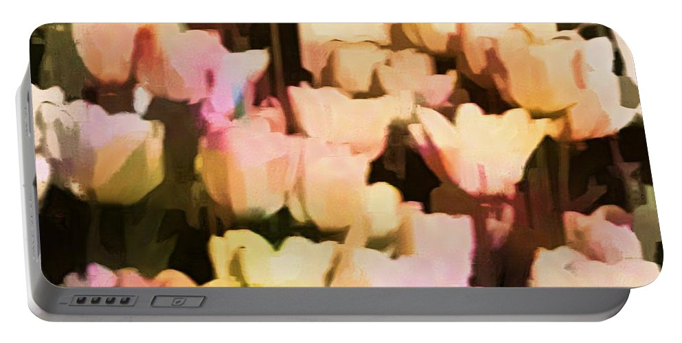 Tulips Portable Battery Charger featuring the photograph Abstracted Tulips by Alice Gipson