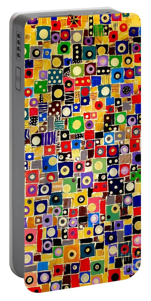 Graphics Portable Battery Charger featuring the painting Abstraction 0449 Marucii by Marek Lutek