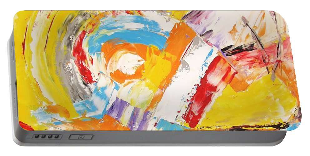 Graphics Portable Battery Charger featuring the painting Abstraction 0473 Marucii by Marek Lutek