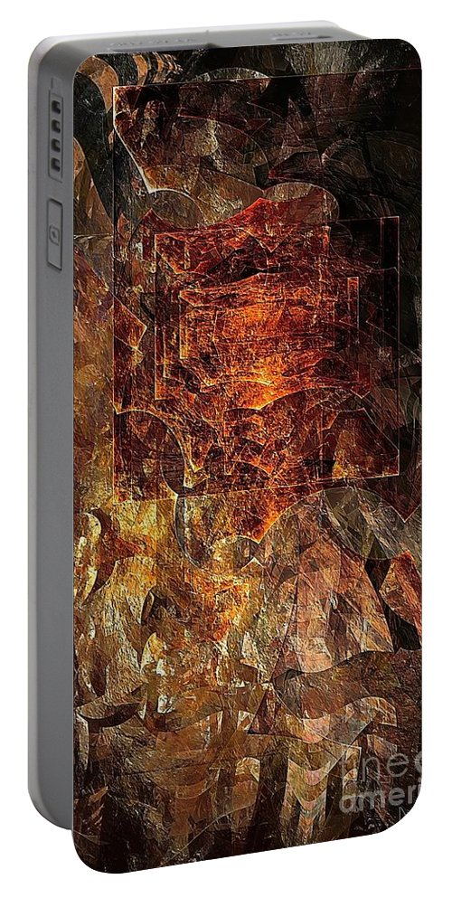 Abstract Portable Battery Charger featuring the digital art Abstraction 464-09-13 Marucii by Marek Lutek