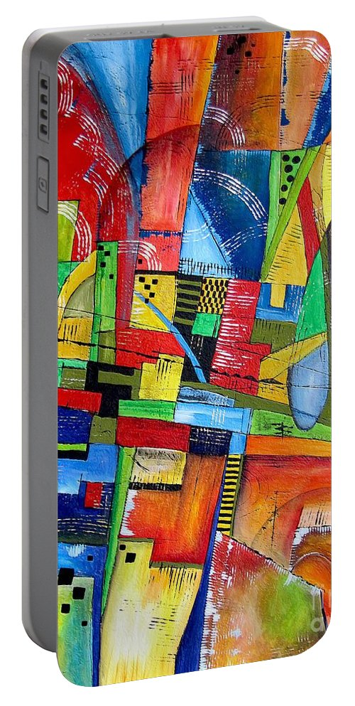 Abstraction Portable Battery Charger featuring the painting Abstraction 599-14 - Marucii by Marek Lutek