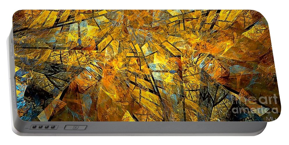 Abstract Portable Battery Charger featuring the painting Abstraction 635-12-13 Marucii by Marek Lutek