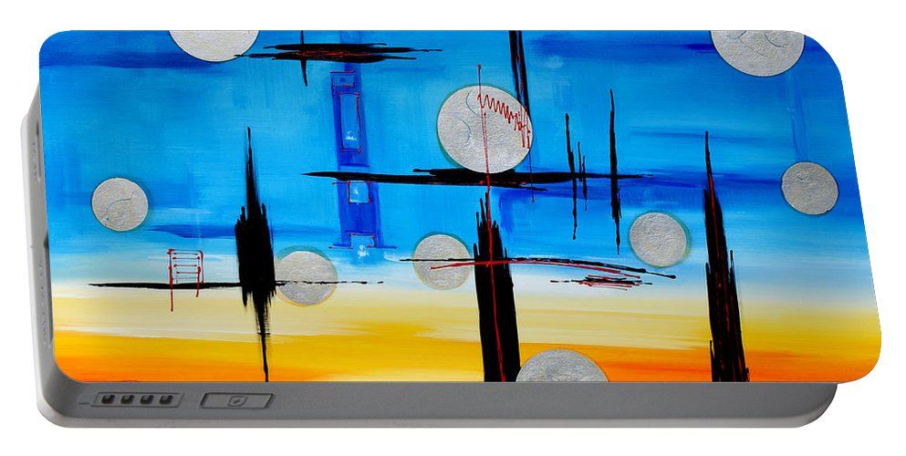 Abstract Portable Battery Charger featuring the painting Abstraction - IIi - by Miroslav Stojkovic - Miro