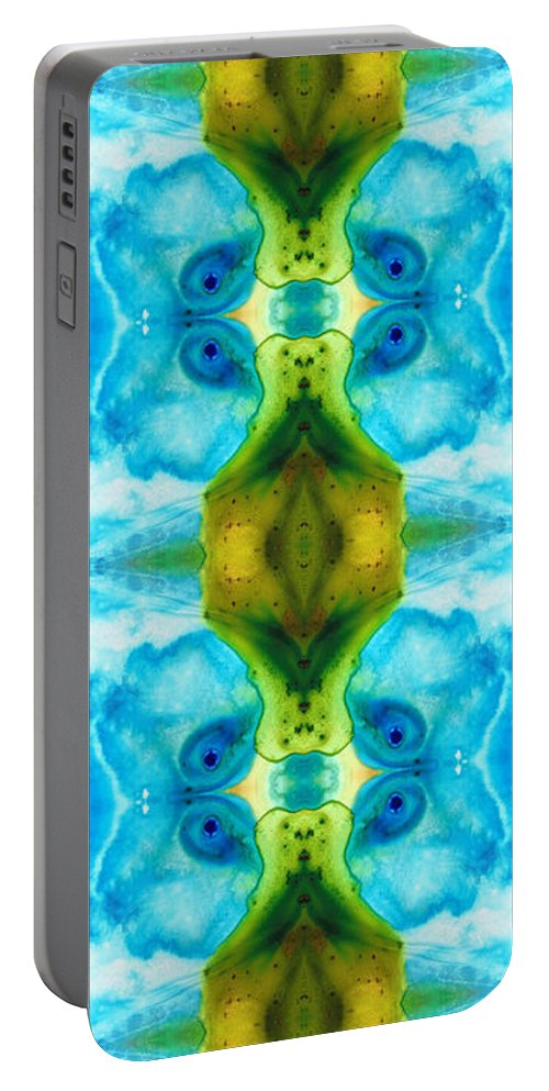 Abstract Portable Battery Charger featuring the painting Abundant Life - Pattern Art By Sharon Cummings by Sharon Cummings