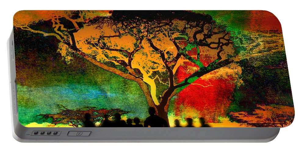 Inspirational Art Portable Battery Charger featuring the digital art Acacia Twilight Inspiration by Mary Clanahan