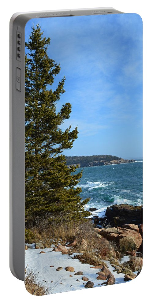 Acadia Portable Battery Charger featuring the photograph Acadian Shores In Winter by Meandering Photography