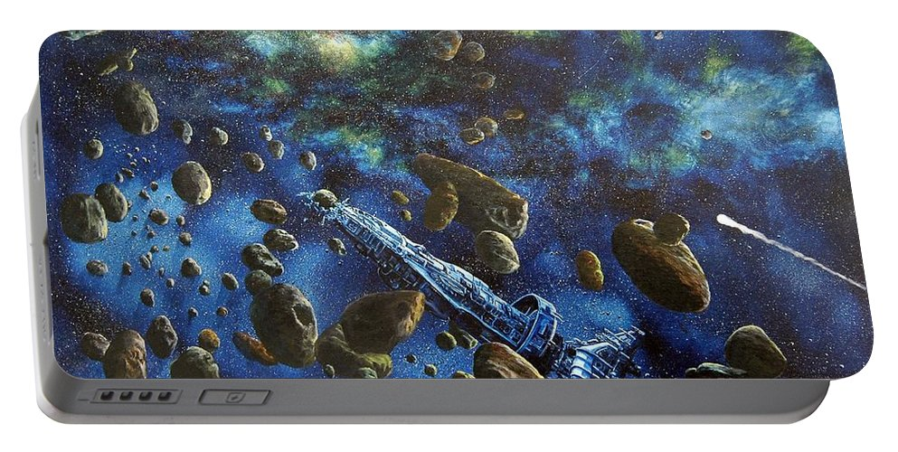 Canvas Portable Battery Charger featuring the painting Accidental Asteroid by Murphy Elliott