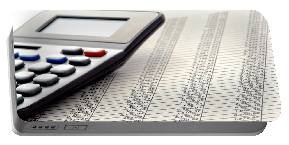 Calculator Portable Battery Charger featuring the photograph Accounting by Olivier Le Queinec