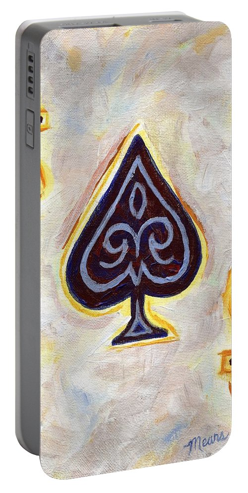Card Portable Battery Charger featuring the painting Ace Of Spades by Linda Mears