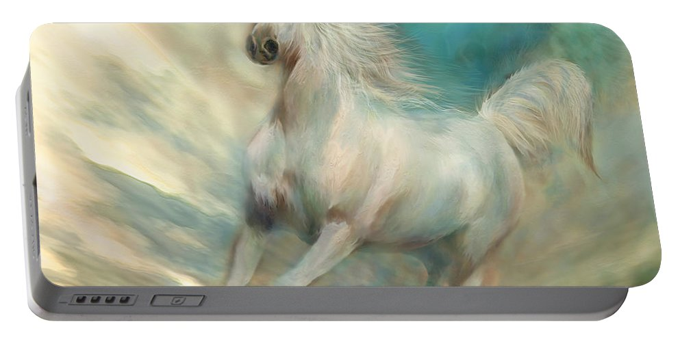 Horse Portable Battery Charger featuring the mixed media Across The Windswept Sky by Carol Cavalaris