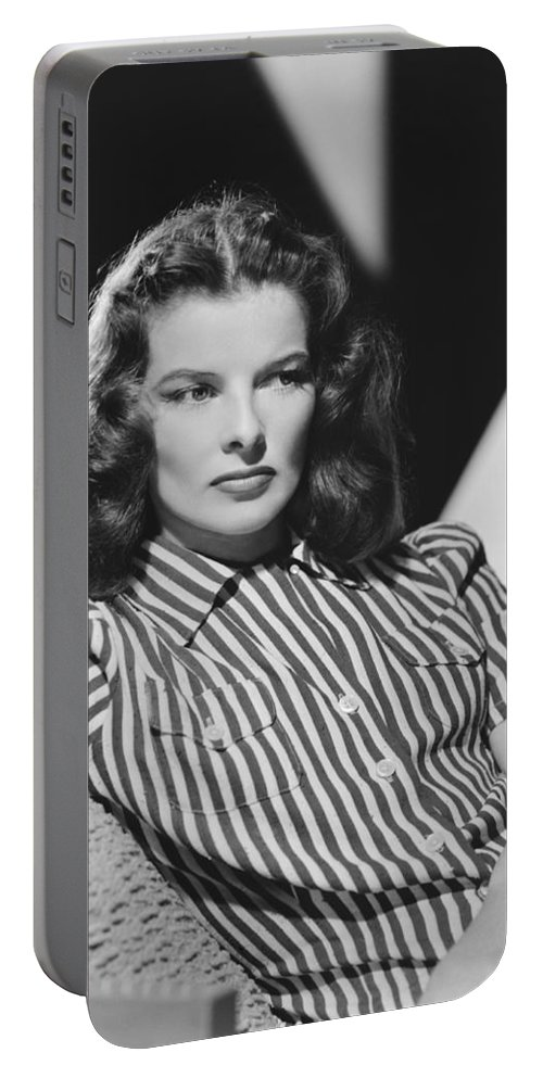 1942 Portable Battery Charger featuring the photograph Actress Katharine Hepburn by Underwood Archives
