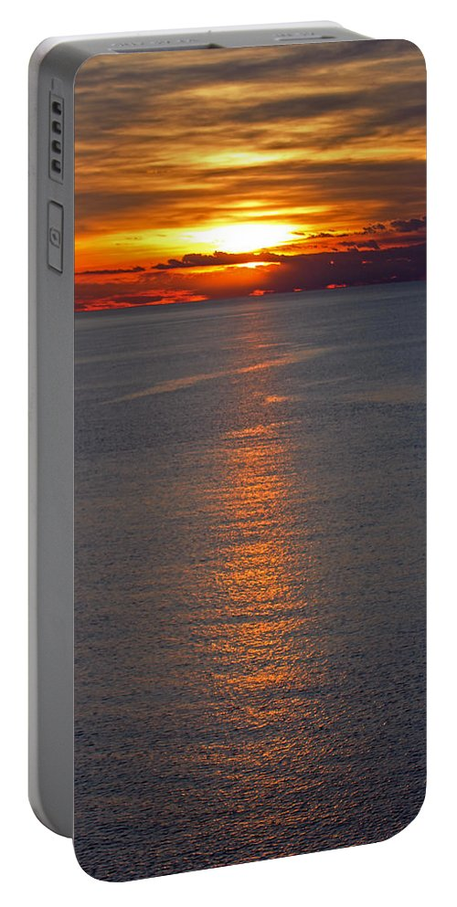 Slovenia Portable Battery Charger featuring the photograph Adriatic Sunset by Tony Murtagh