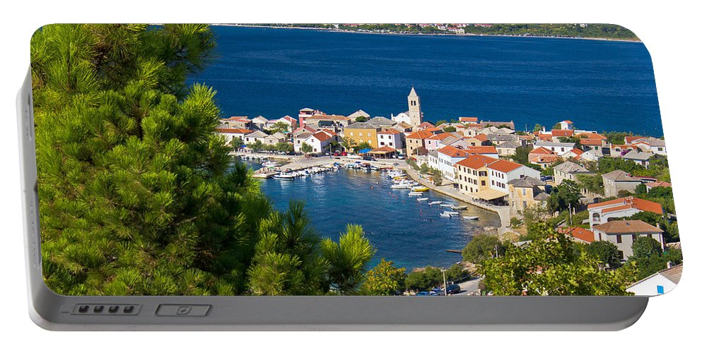 Croatia Portable Battery Charger featuring the photograph Adriatic Town Of Vinjerac Aerial View by Brch Photography