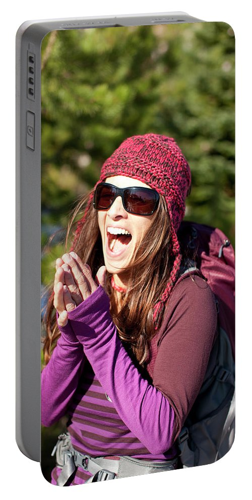 Adult Portable Battery Charger featuring the photograph Adult Woman Laughing Out Loud While by Woods Wheatcroft