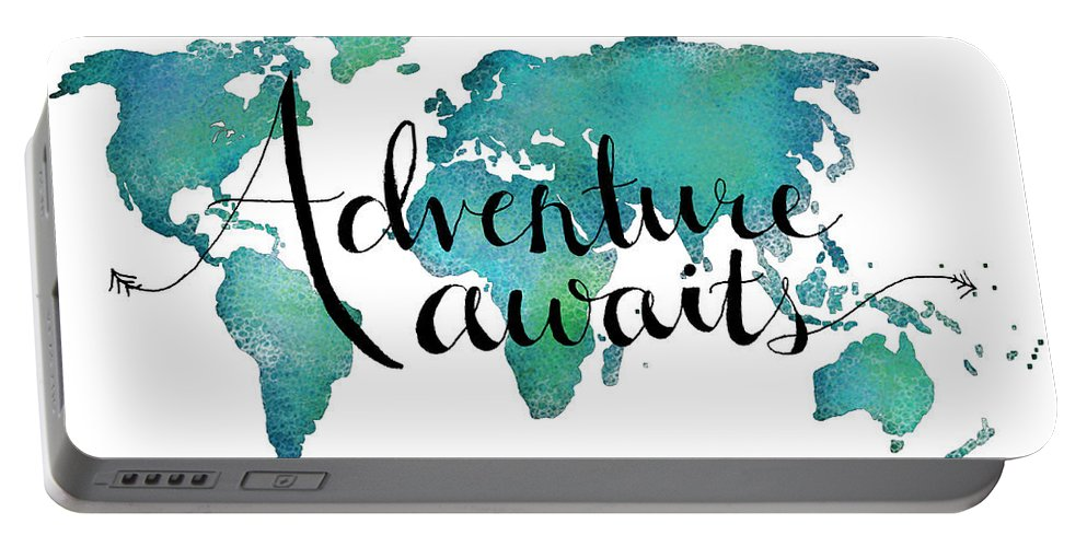 Adventure Awaits Portable Battery Charger featuring the digital art Adventure Awaits - Travel Quote on World Map by Michelle Eshleman
