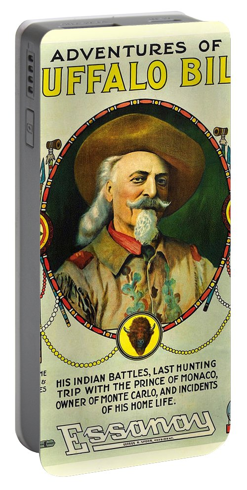 Buffalo Bill Portable Battery Charger featuring the photograph Adventures Of Buffalo Bill by Movie Poster Prints
