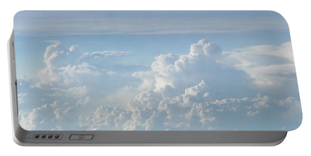 Skyscape Clouds Photographs Canvas Prints Blue Sky Aerial Formation High Elevation Turbulance Altitude Skyscape Prints Cloudscape Posters Blue Skies Portable Battery Charger featuring the photograph Aerial Formation by Joshua Bales