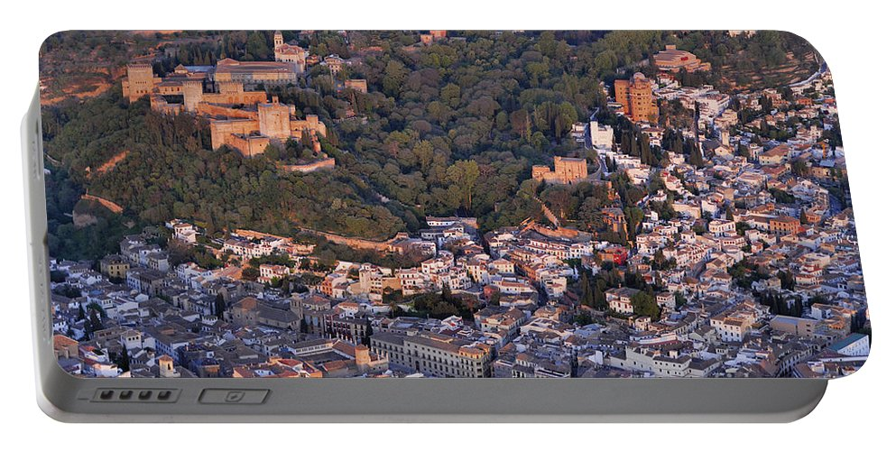 Alhambra Portable Battery Charger featuring the photograph Aerial Photo Alhambra Granada by Guido Montanes Castillo