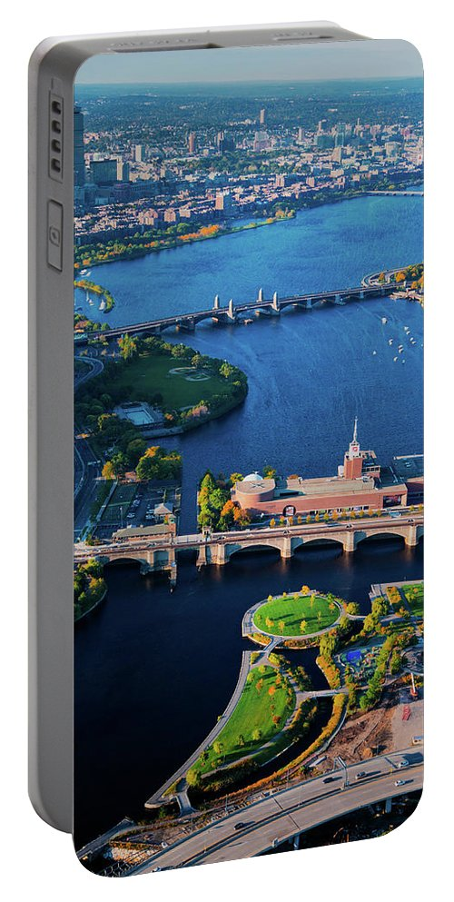 Photography Portable Battery Charger featuring the photograph Aerial View Of Bridges Crossing Charles by Panoramic Images