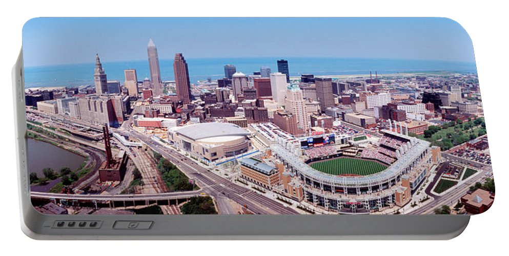 Photography Portable Battery Charger featuring the photograph Aerial View Of Jacobs Field, Cleveland by Panoramic Images