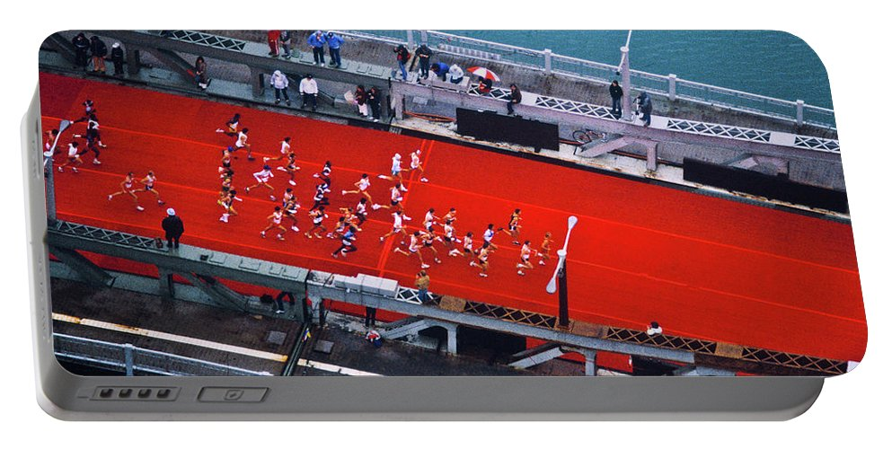 Photography Portable Battery Charger featuring the photograph Aerial View Of People Running by Panoramic Images