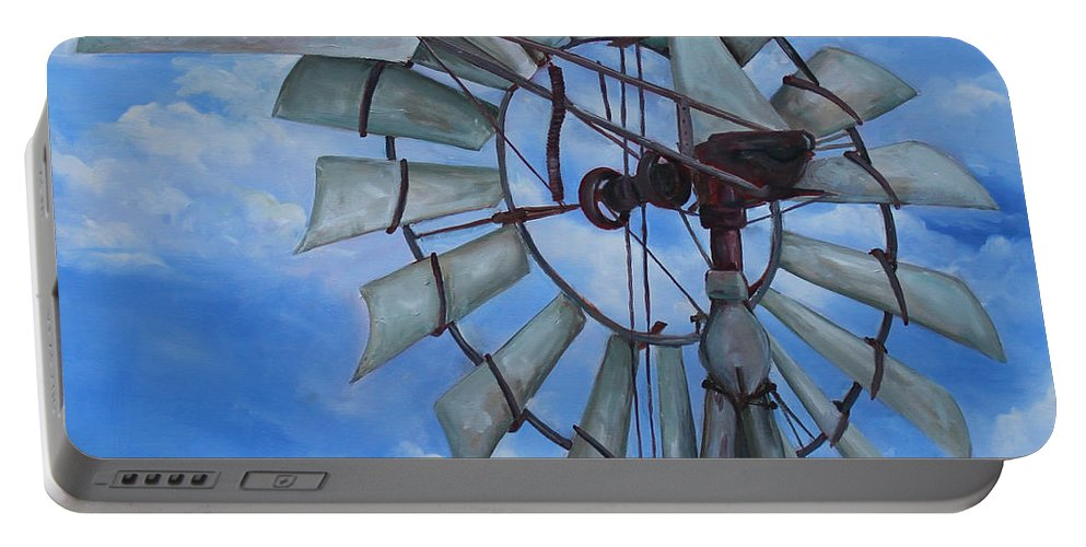 Kristine Kainer Portable Battery Charger featuring the painting Aermotor Windmill by Kristine Kainer