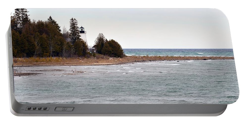 Presque Isle Portable Battery Charger featuring the photograph Afar by Linda Kerkau