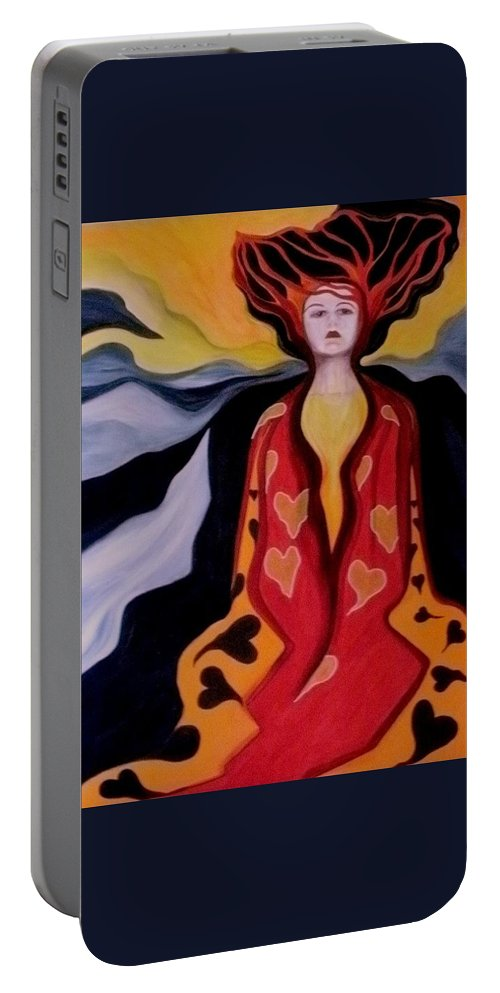 Women Portable Battery Charger featuring the painting Faint Of Heart by Carolyn LeGrand
