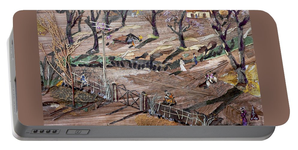 Uneven Ground Portable Battery Charger featuring the mixed media Affect Of Global Warming by Basant Soni