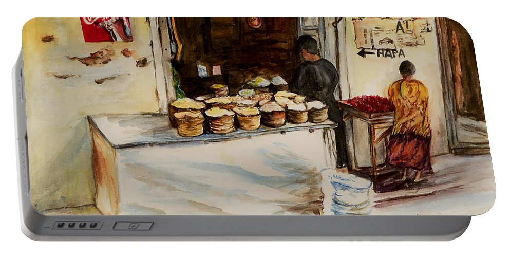 Duka Portable Battery Charger featuring the painting African Corner Store by Sher Nasser