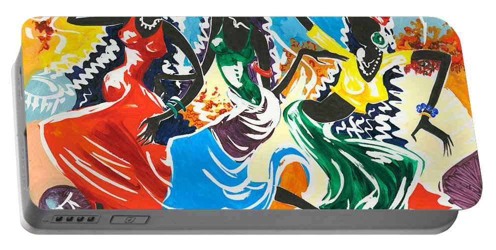 Canvas Prints Portable Battery Charger featuring the painting African Dancers No. 2 by Elisabeta Hermann