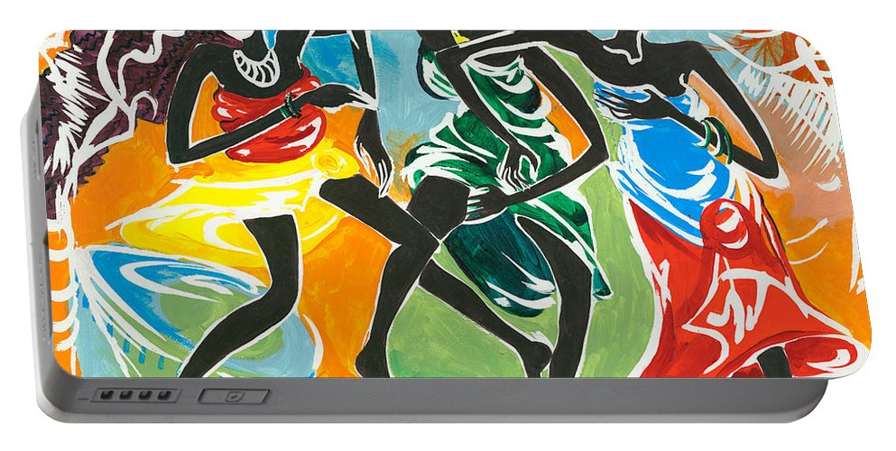 African Portable Battery Charger featuring the painting African Dancers No. 3 by Elisabeta Hermann