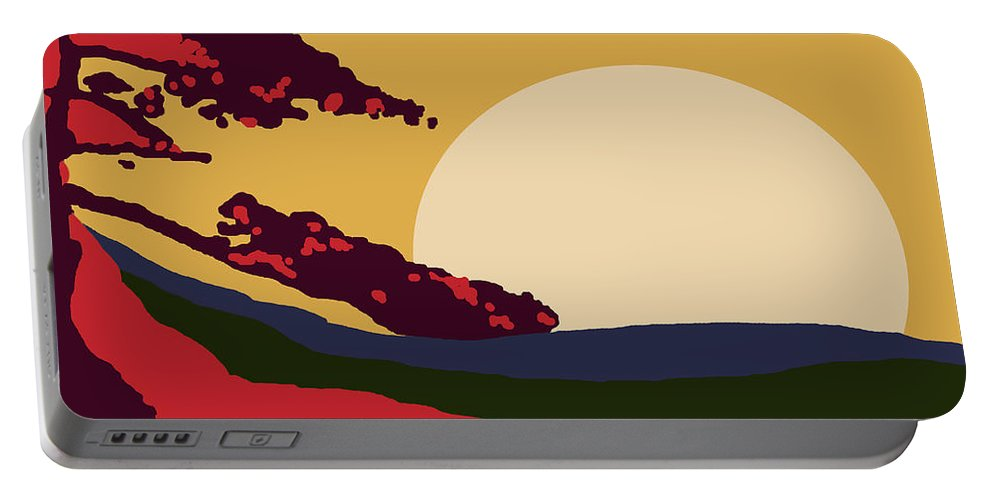 Landscape Portable Battery Charger featuring the digital art African Landscape by Art by Kar