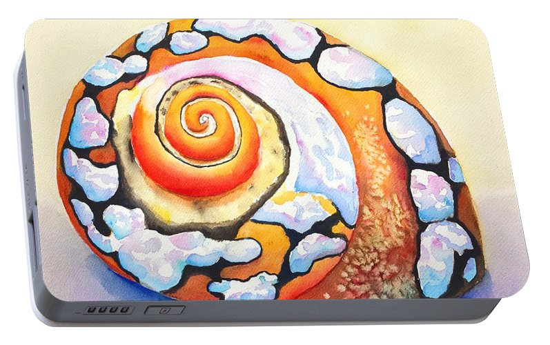 Shell Portable Battery Charger featuring the painting African Turbo Shell by Carlin Blahnik CarlinArtWatercolor