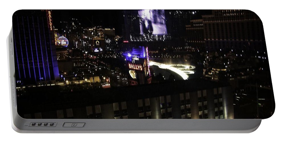 Vegas Portable Battery Charger featuring the photograph After Dark In 2008 by Image Takers Photography LLC - Carol Haddon