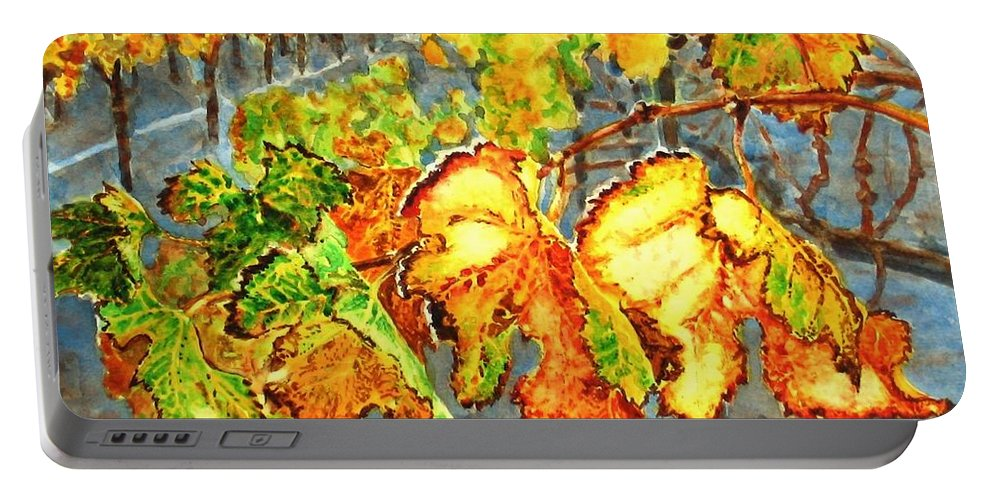 Vineyard Portable Battery Charger featuring the painting After The Harvest by Karen Ilari