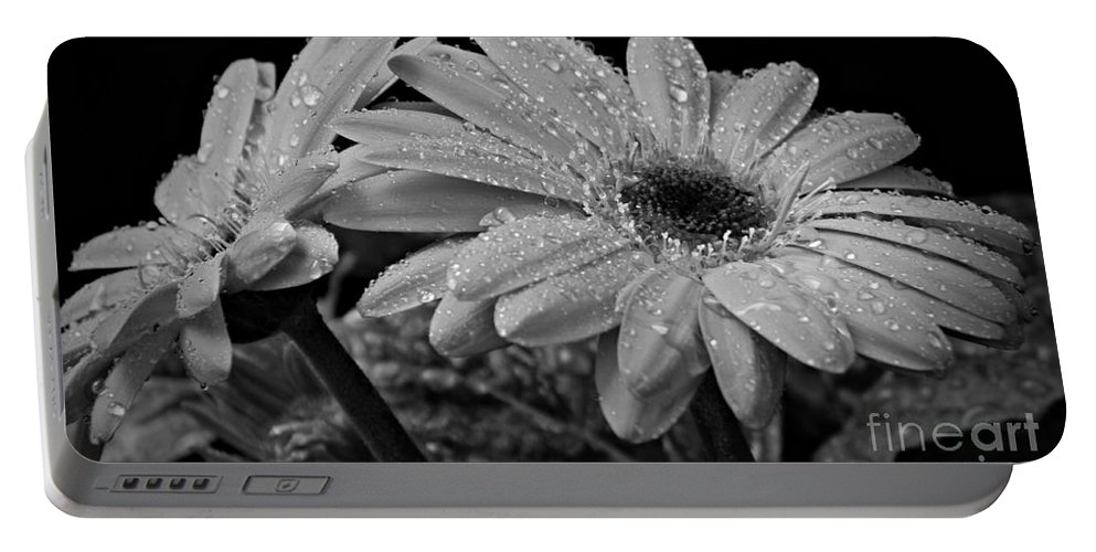 After The Rain Bw Portable Battery Charger featuring the photograph After The Rain Bw by Chalet Roome-Rigdon