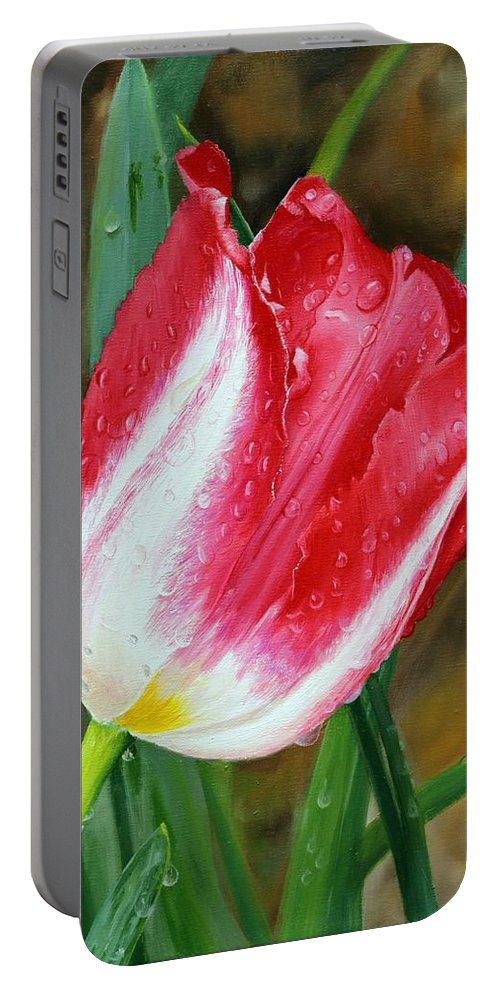 Flowers Portable Battery Charger featuring the painting After The Rain by Glenn Beasley