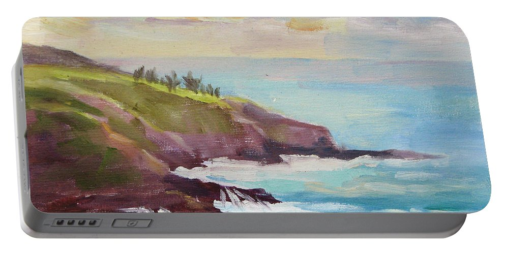 Hawaii Portable Battery Charger featuring the painting After The Storm Maui by Karin Leonard