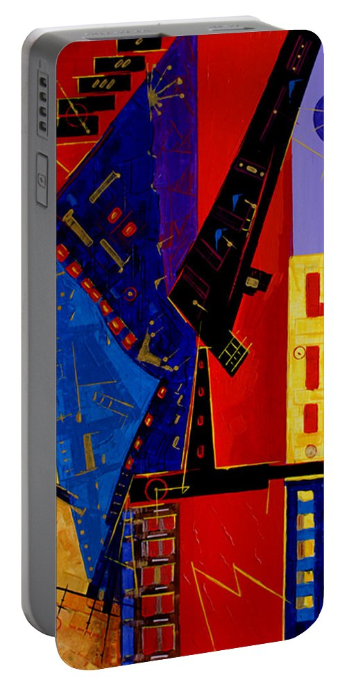 Abstract Portable Battery Charger featuring the painting After Them ... by Miroslav Stojkovic - Miro