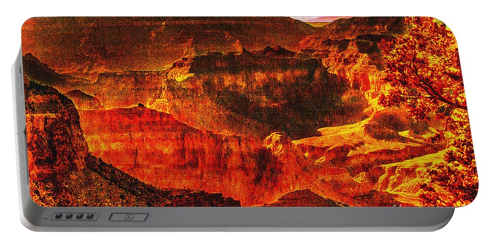 Afterglow Portable Battery Charger featuring the photograph Afterglow Grand Canyon National Park by Bob and Nadine Johnston